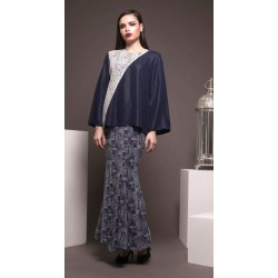 PETRA lace detail top with printed skirt kurung in Navy Blue
