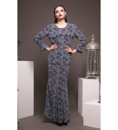 QIARA flaired detail printed kurung in Navy Blue