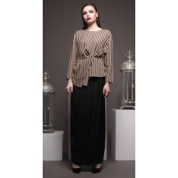 ARIYA stripe print with silk black modern kurung in Nude Black