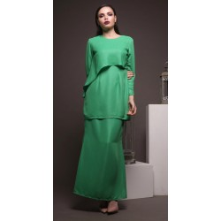 STELLA flaired detail top metallic modern kurung in Green