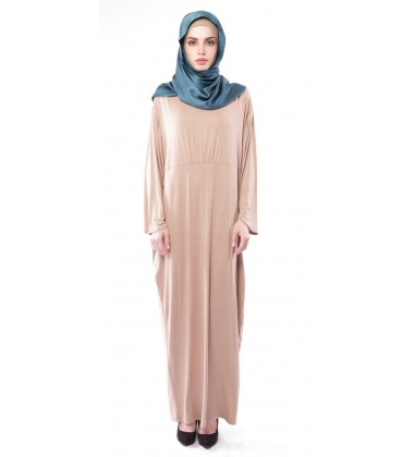 AFRAH jersey kaftan with gathered waist detail in Brown