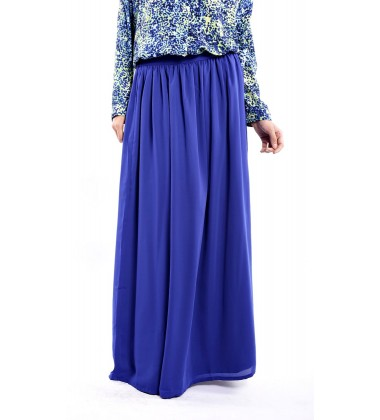AINI full maxi double chiffon skirt in Blue