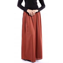 AINI full maxi double chiffon skirt in Brown