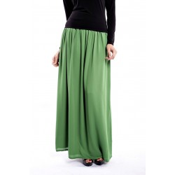 AINI full maxi double chiffon skirt in Green