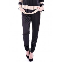 AINUN silk ruched pants in Black