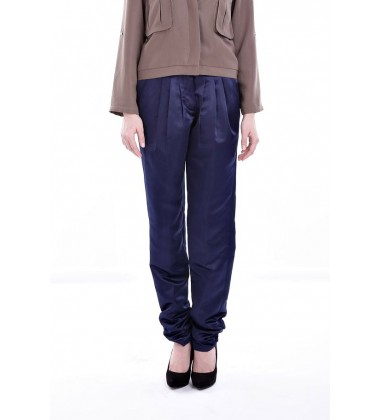 AIDA mix twill ruched pants in Navy Blue