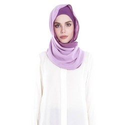 ARIANA Rectangular Soft Chiffon Two Tone Shawl in Lilac/Purple