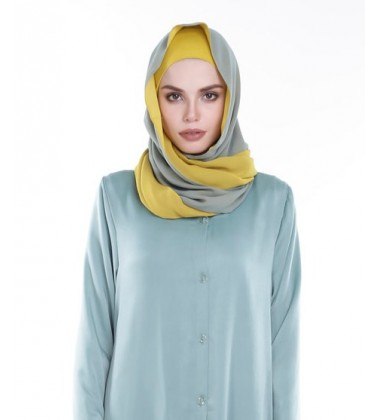 ARIANA rectangular soft chiffon two tone shawl Green/Mustard