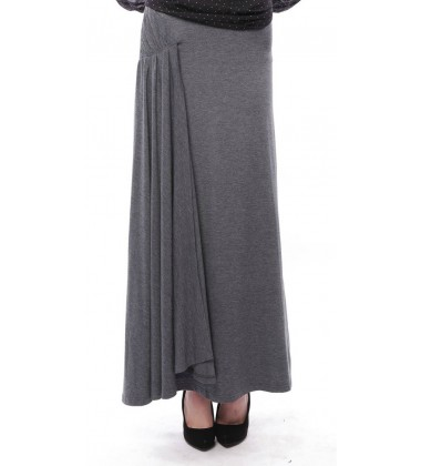 AZALEA side pleated jersey skirt in Grey