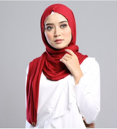 AZLIN SOFT JERSEY SHAWL in RED
