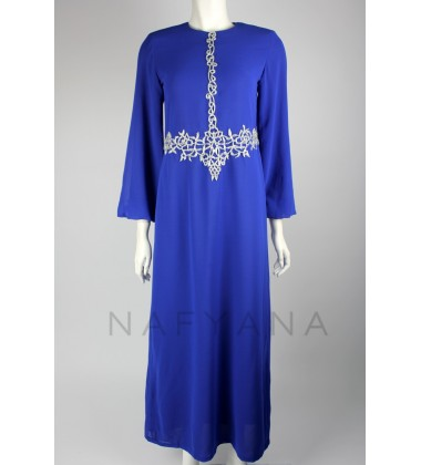 MINA hip & middle chiffon abaya in Blue