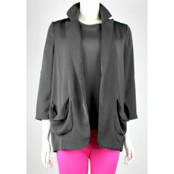 CADENCE loose draped  jacket in Black