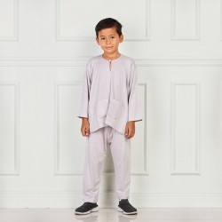 Baju Melayu Boys Cotton Jersey in Light Grey