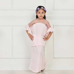 ALVIRA Chiffon With Net Kurung KIDS in Soft Pink