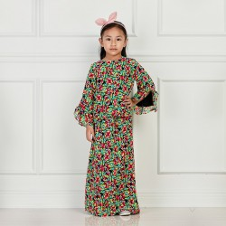 JASEENA Printed Chiffon Baju Kurung in Mix Black