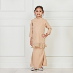 ADELYN Polka Dot W Ruffle Kurung Kids in Brown