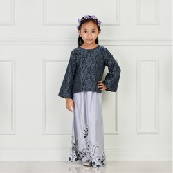 MARIYA Kids Lace and Batik Baju Kurung in Grey