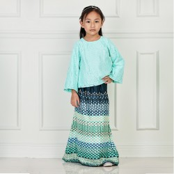 MARIYA Kids Lace and Batik Baju Kurung in Mint Green