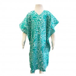 Nella Cotton Printed Kaftan in Green