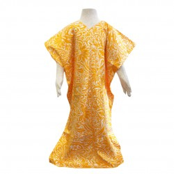 Nella Cotton Printed Kaftan in Yellow