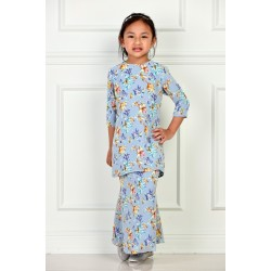 IMANI Chiffon Printed Kurung Kedah Kids in Grey Blue