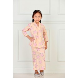 RATU Cotton Printed Kebaya Kids in Peach Flower