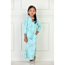 RATU Cotton Printed Kebaya Kids in Mint Green Flower
