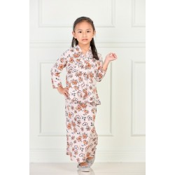 RATU Cotton Printed Kebaya Kids in Brown Flower