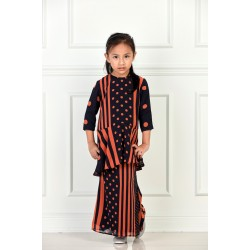 ZAZA Printed Chiffon Peplum Kids in Navy blue Orange