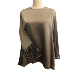 HASYA SILK TOP WITH PLEATED GLITTER CHIFFON IN GREEN