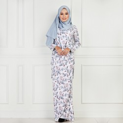 Hanis Printed Flower Kurung in Grey