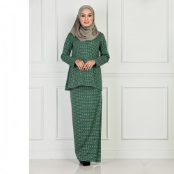 LEAH Geometric Pattern Baju Kurung in Green