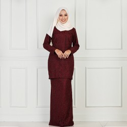 NICCI Full Laced W Lining Kurung in Maroon