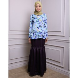 IMANI floral and gathered plain baju kurung