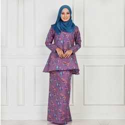 LAMIRA Batik Cotton Printed Kurung in Purple