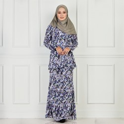 WILONA Side Soft Pleats Printed Kurung