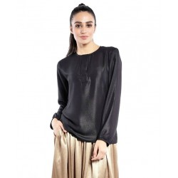 DANIA plain long sleeve blouse in Black