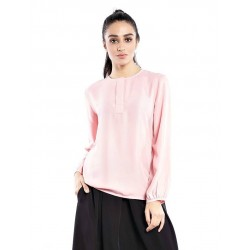 DANIA plain long sleeve blouse in Pink