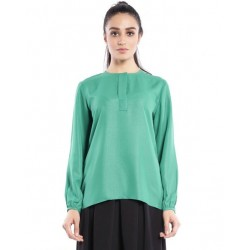 DANIA plain long sleeve blouse in Green