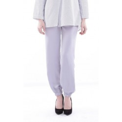 DAYSHA silk pants with stretch bottom in Silver Grey