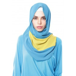 DEWI 3 stripe dwicolour chiffon shawl in Blue Lime