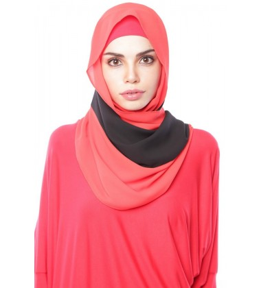 DEWI 3 stripe dwicolour chiffon shawl Red Black