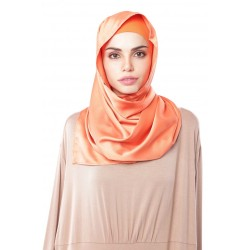 HAJAR Silk Shawl in Dark Orange