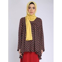 Raziya Printed Gathered Blouse in Black Red
