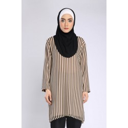 ZURIANI STRIPE CHIFFON TUNIC in NUDE BLACK