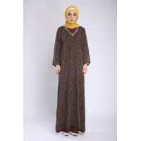 ADITI polka dot straight cut kaftan in Brown