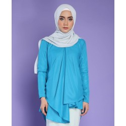 EDANA metallic chiffon top in blue