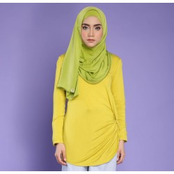 NURAA cotton jersey top in Yellow
