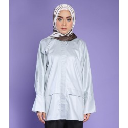 SYAFIA WITH COLLAR TOP IN GREY