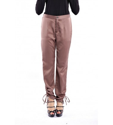 HEATHER silk trouser with ankle gathered in Brown